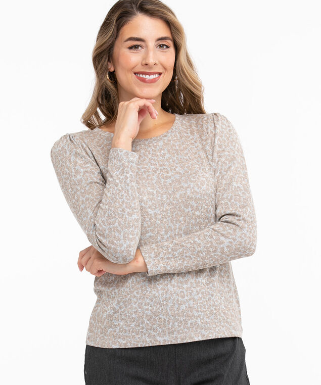 Hacchi Knit Pleated Sleeve Top, Neutral Animal