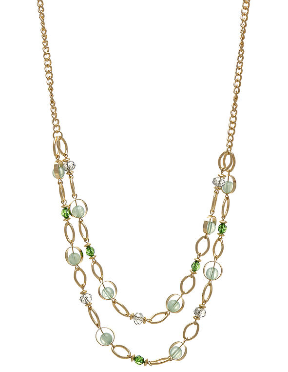 Green Beaded Short Necklace, Green/Gold, hi-res