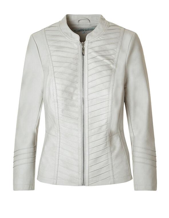 Ivory Faux Leather Jacket, Ivory, hi-res