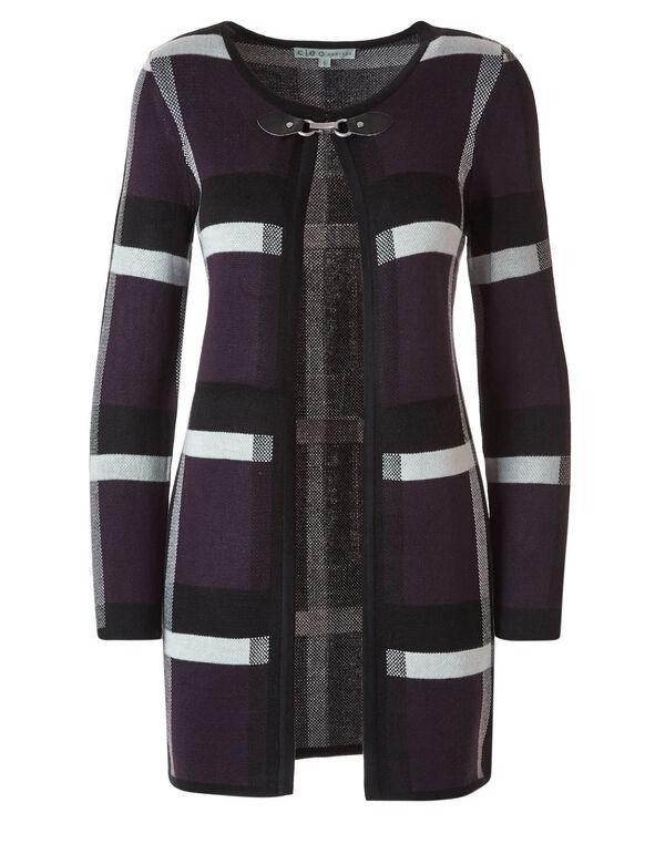 Purple Plaid Open Coatigan Sweater, Purple, hi-res