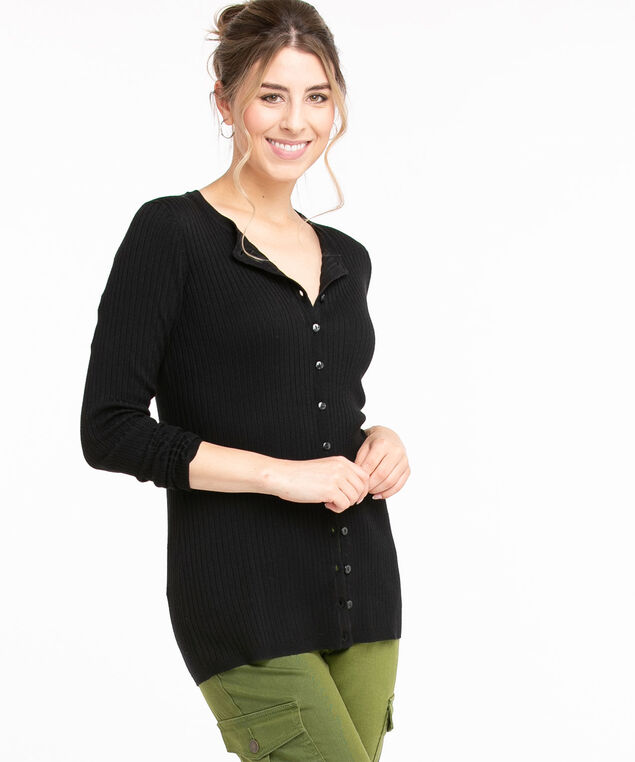 Ribbed Button Front Cardigan, Black