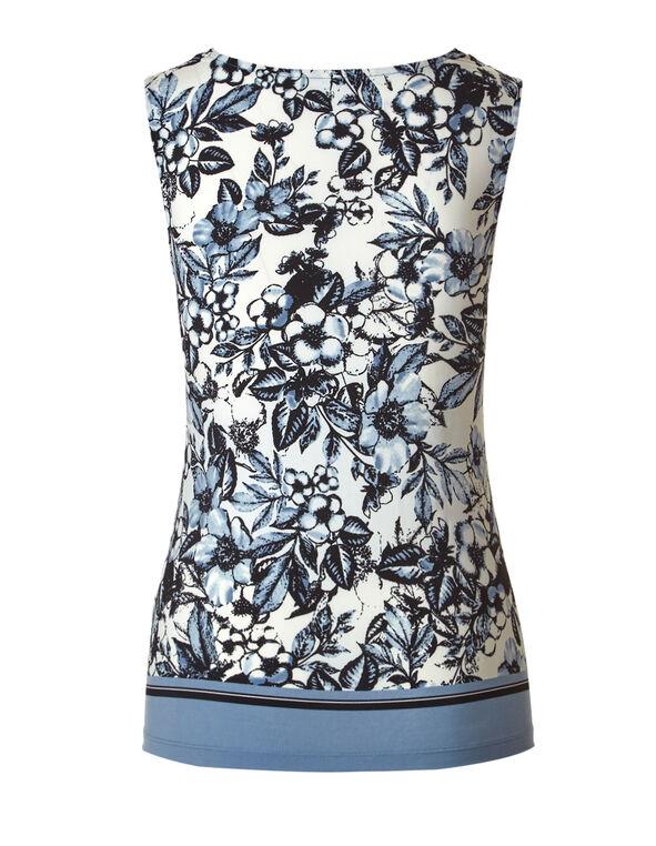 Blue Floral Cowl Neck Top, Blue, hi-res