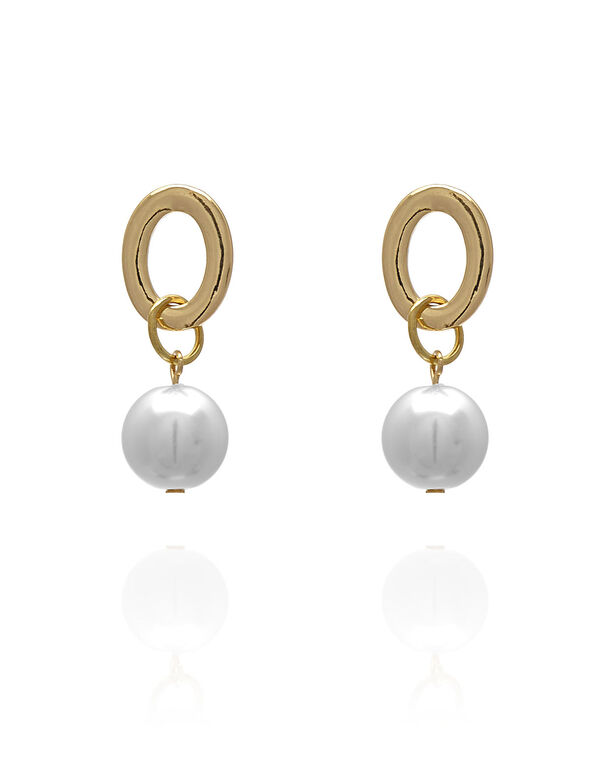Gold Pearl Accent Earring, Gold, hi-res
