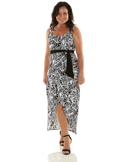Black and White Maxi Dress, Black, hi-res