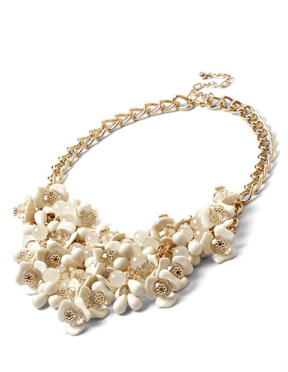 Floral Statement Necklace, Ivory, hi-res