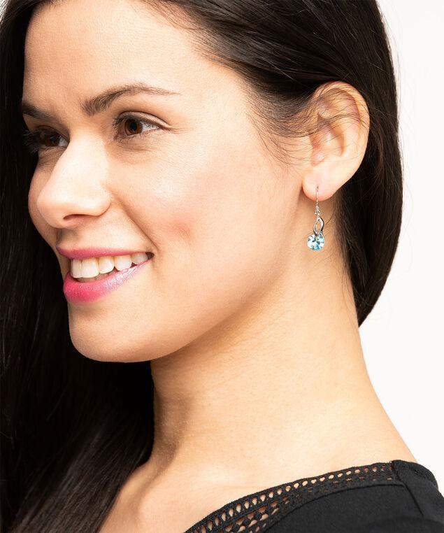 Genuine Crystal Spiral Drop Earring, Aquamarine