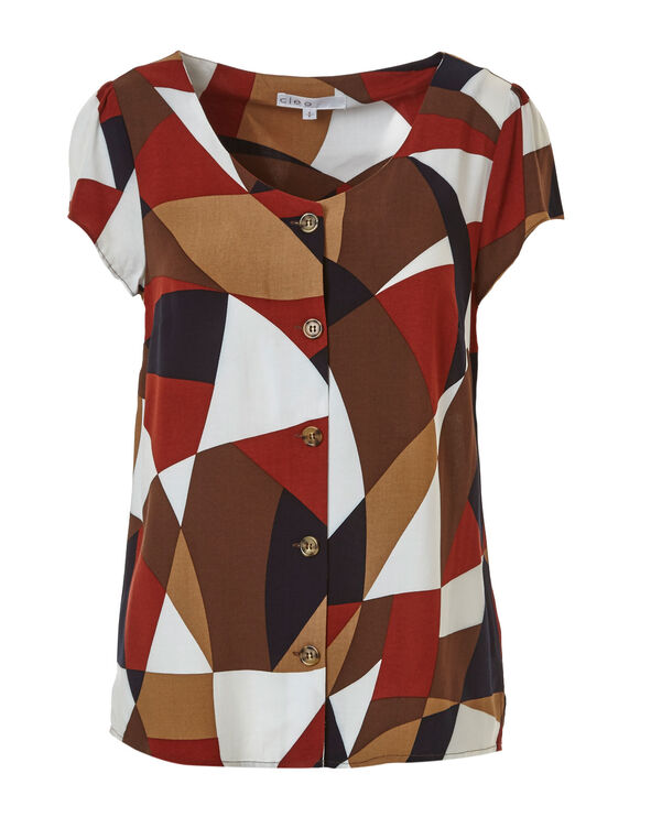Colour Block Button Front Blouse, Brown, hi-res