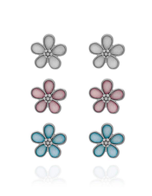 Pastel Flower Earring Trio Set, Pink/Blue/White, hi-res