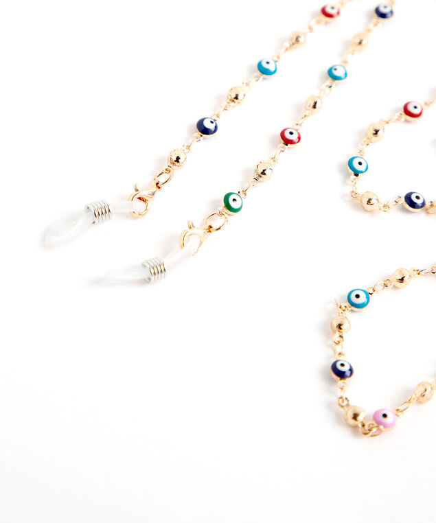 Colourful Beaded Mask & Sunglasses Chain, Gold