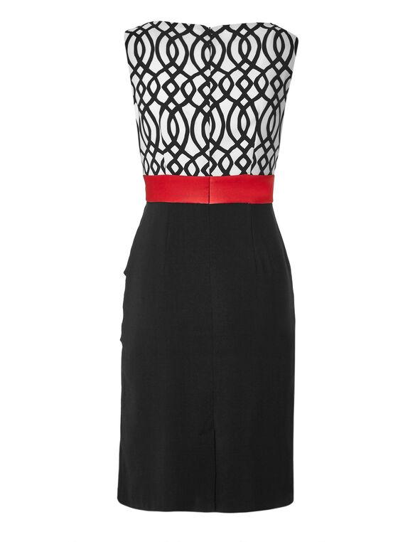 Printed Tulip Dress, Black/Red, hi-res
