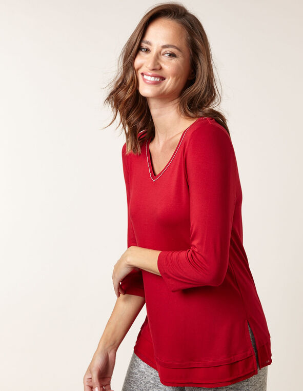 Red Chiffon Hem Top, Red, hi-res