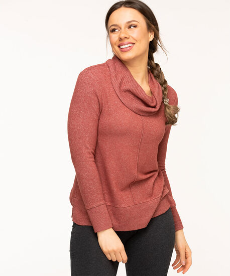Cowl Neck Lightweight Knit Top, Rosewood, hi-res