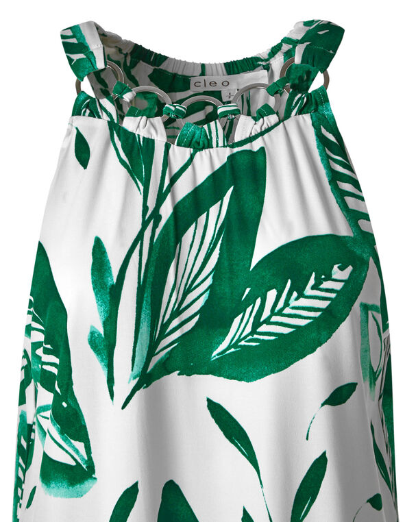 Green Tropical Printed Top, Green/White, hi-res