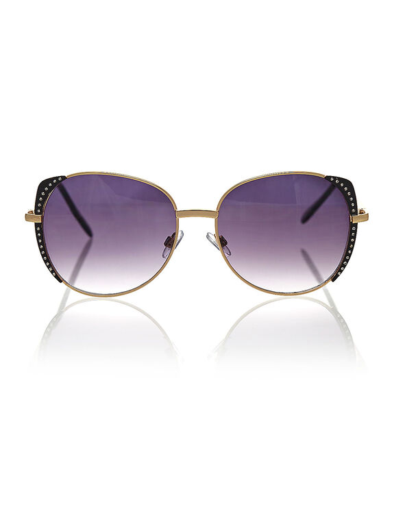 Gold Clear Stone Sunglasses, Gold, hi-res