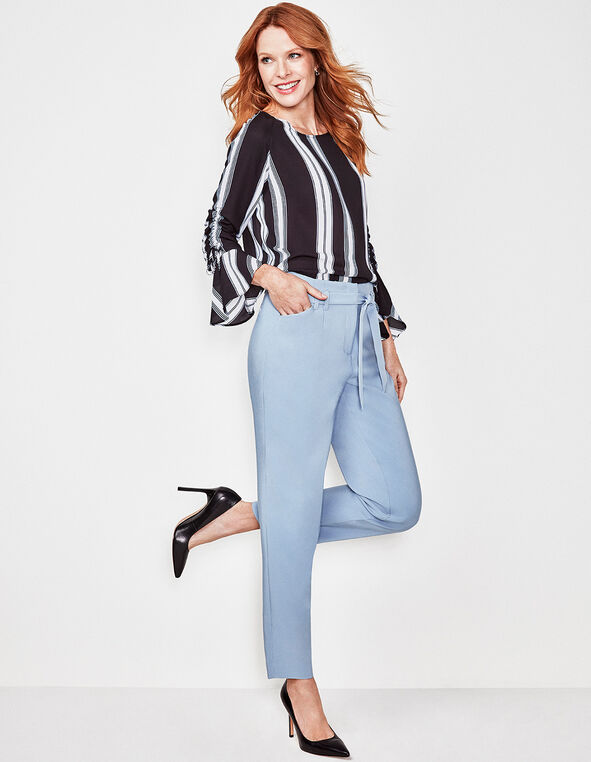 Striped Ruched Bell Sleeve Blouse, Black, hi-res