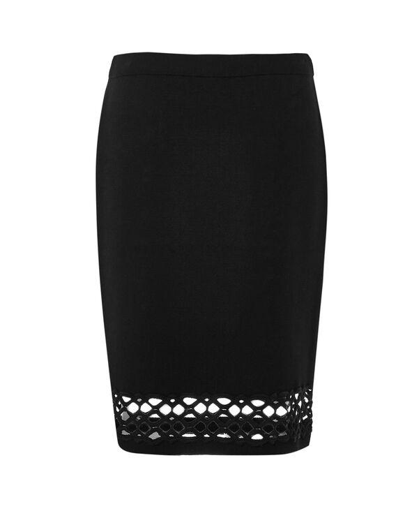 Black Lace Hem Pencil Skirt, Black, hi-res