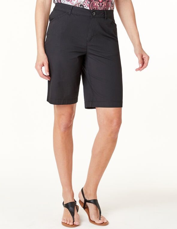 Black Poplin Short, Black, hi-res