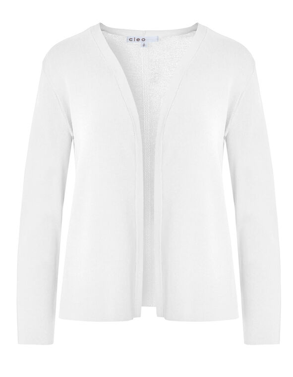 White Crepe Cardigan, White, hi-res
