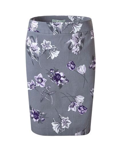 Grey Floral Pull On Pencil Skirt, Light Grey/Purple, hi-res