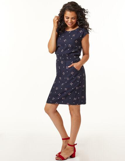 Navy Paisley Rayon Twill Dress, Navy, hi-res