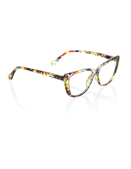 Multicolour Large Cat Eye Reader, Green/Blue, hi-res