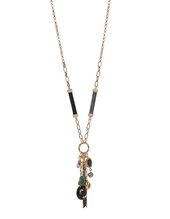 Emerald Statement Necklace, Green, hi-res