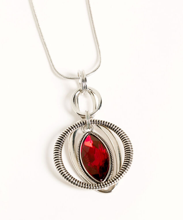 Silver & Ruby Red Pendant Necklace, Silver/Red