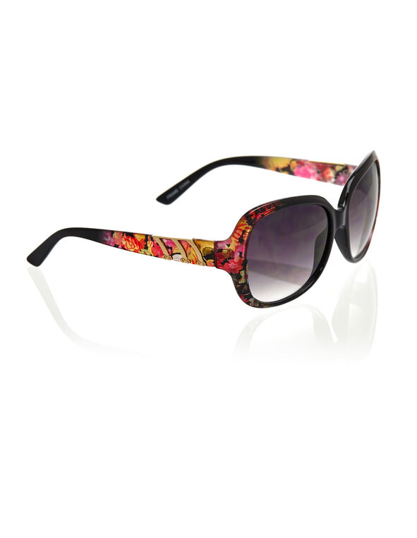 Floral Large Frame Sunglasses, Black/Pink, hi-res