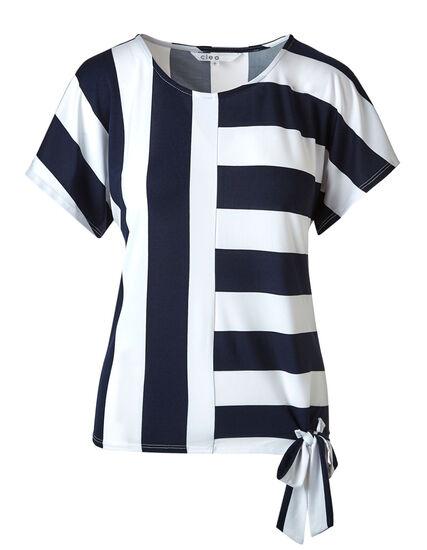 Navy Stripe Side Tie Top, Navy/White, hi-res