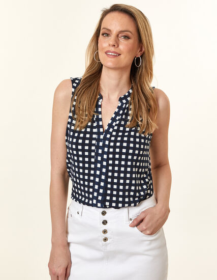 Navy Gingham Crepe Top, Navy, hi-res