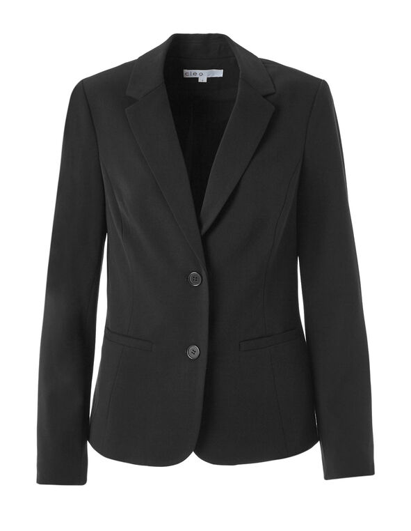 Black Structured Blazer, Black, hi-res