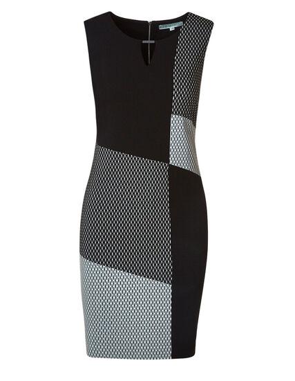 Black Jaquard Sheath Dress, Black, hi-res