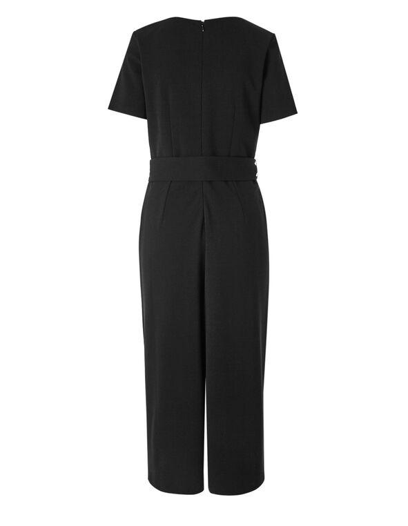 Black Front Tie Jumpsuit, Black, hi-res