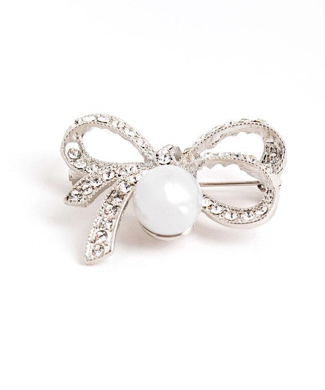Silver Pearl Bow Pin, Silver