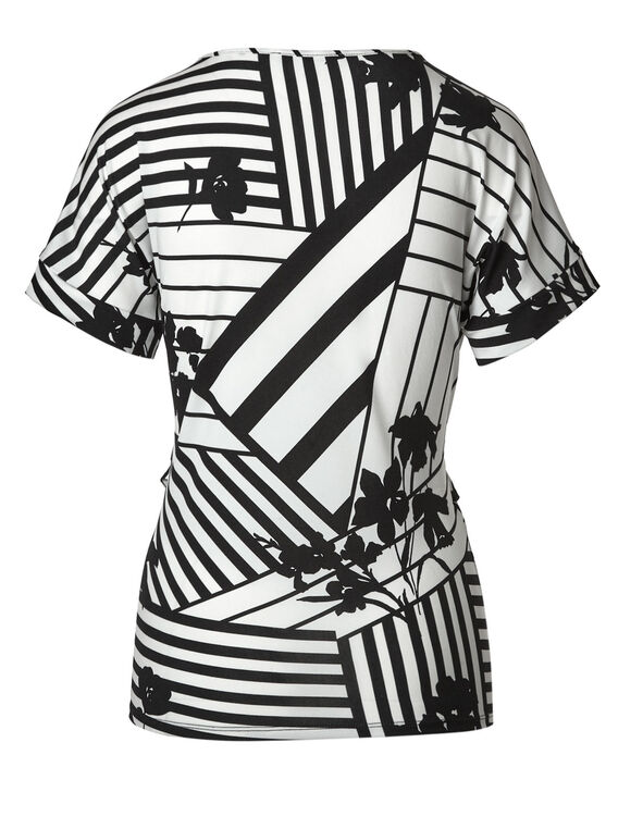 Black Floral Front Tie Top, Black/White, hi-res