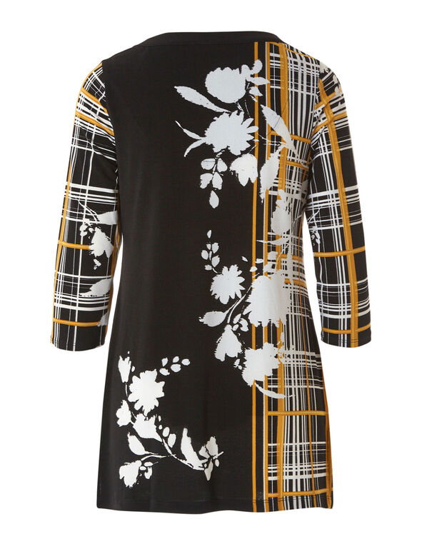 Ochre Patterned Crepe Tunic Top, Floral, hi-res