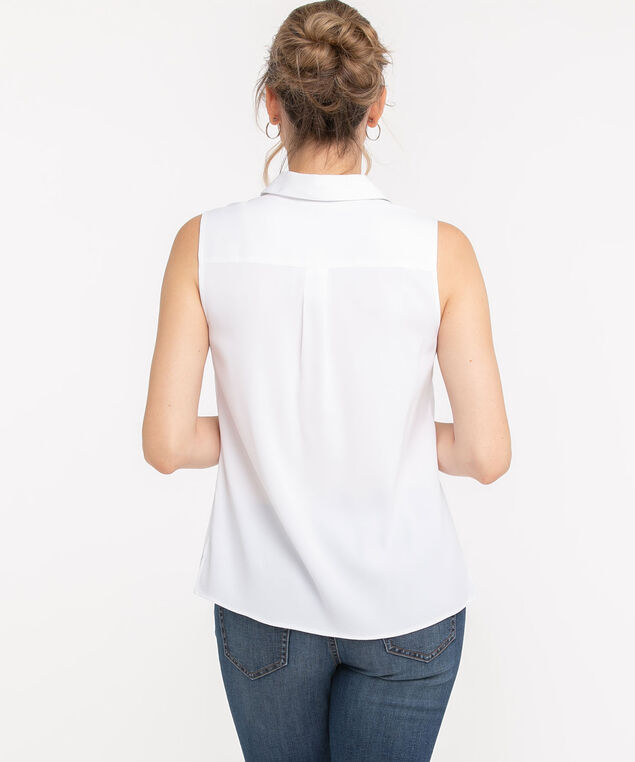 Sleeveless Collared Button Front Blouse, White