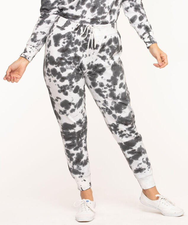 Tie Dye Fleece Jogger Pants, Black/White