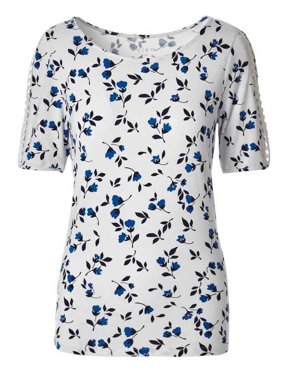 White Printed Crochet Sleeve Tee, White/Blue Print, hi-res