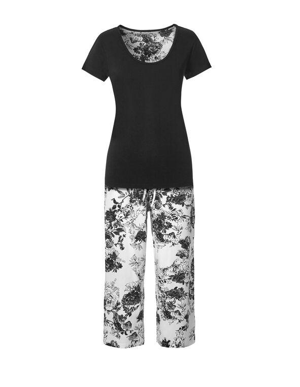 Black Floral Capri Pajama Set, Black, hi-res