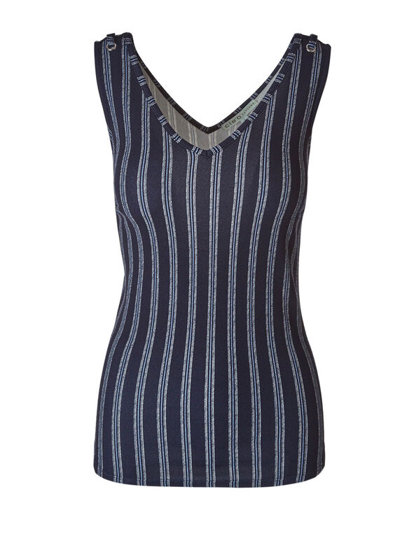 Navy Striped Bubble Crepe Printed Top, Navy, hi-res