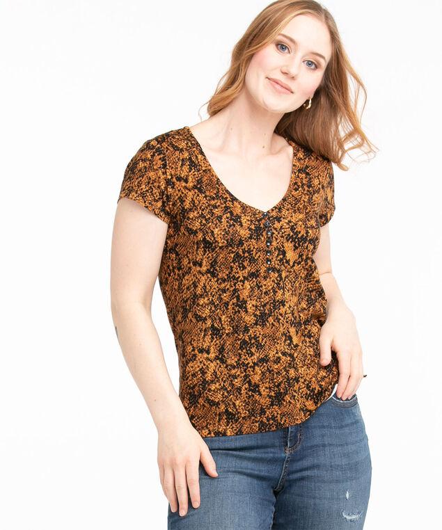 Patterned Short Sleeve Henley Top, Cider/Black Snake Print