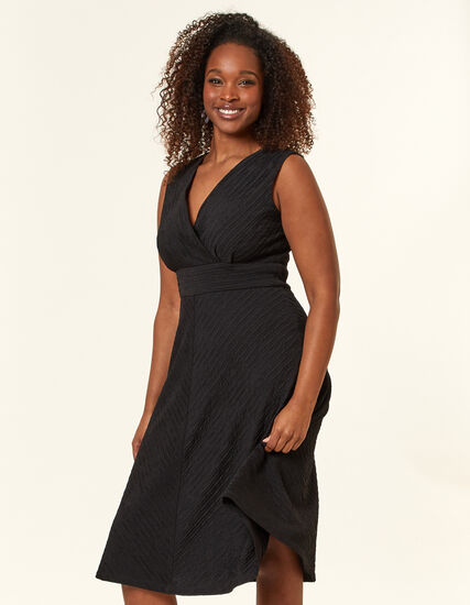 Black Scuba Knit Dress, Black, hi-res