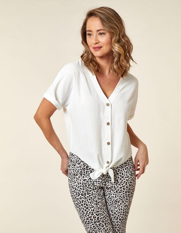 White Wood Button Blouse, White, hi-res