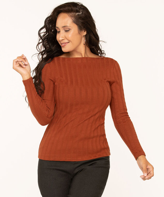 Ribbed Boat Neck Knit Top, Rust, hi-res