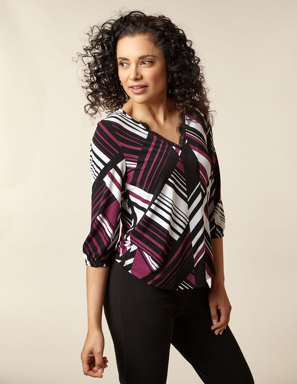 Berry Printed Crepe Top, Black/Purple/Berry, hi-res