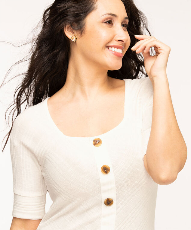 Square Neck Button Top, White