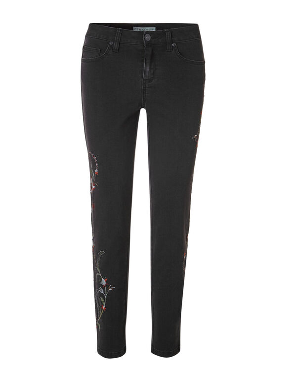 Black Embroidered Slim Leg Jean, Black, hi-res