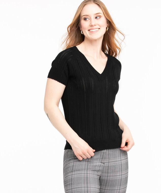 Pointelle Knit Short Sleeve Sweater, Black