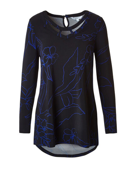 Black Printed Tunic Top, Black/Blue, hi-res